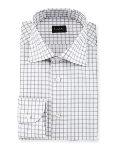 Contemporary-Fit Large Box-Check Dress Shirt, White