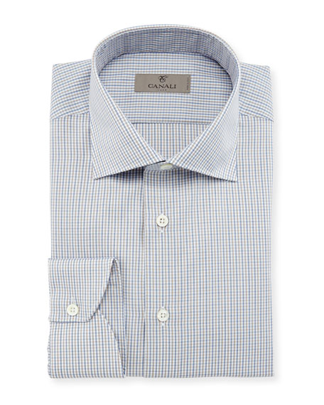 Micro-Gingham Dress Shirt, Tan