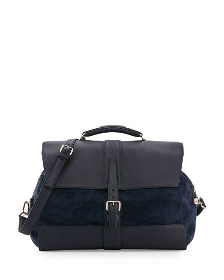BrioniLeather & Suede Flap-Top Travel Bag, Blue