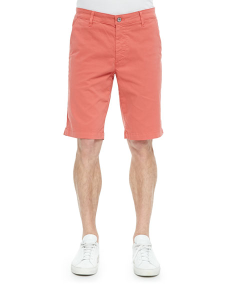 AG Adriano Goldschmied Griffin Flat-Front Shorts, Orange