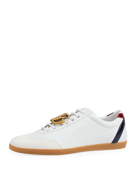Men's Bambi GG Leather Low-Top Sneakers, White