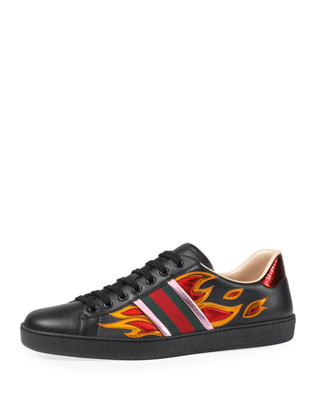 Gucci New Ace Flames Leather Low-Top Sneaker, Black