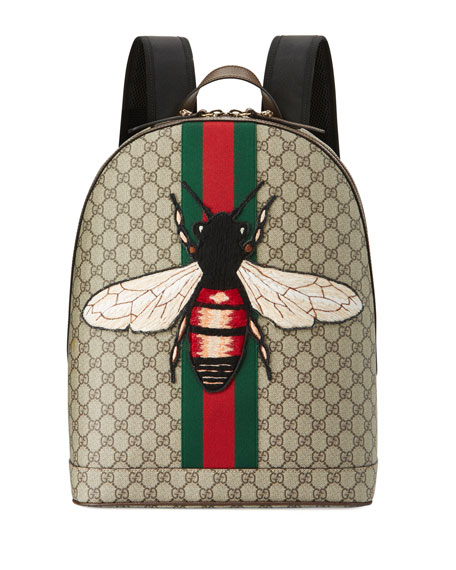 Gucci Men's Web Animalier Backpack with Bee