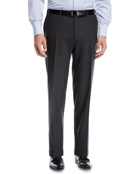 Canali Heathered Flat-Front Pants