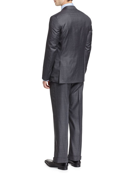 Sharkskin Super 130s Wool Two-Piece Suit, Gray