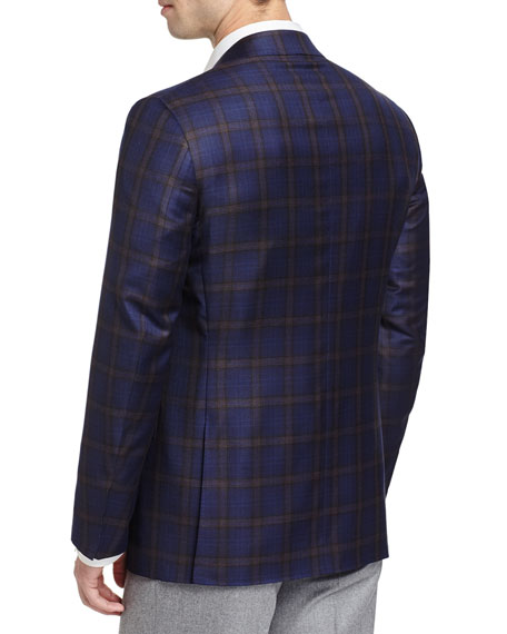 Plaid Wool Two-Button Sport Coat, Navy/Brown