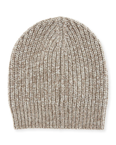 Men's Cashmere Knit Beanie Hat, Oatmeal