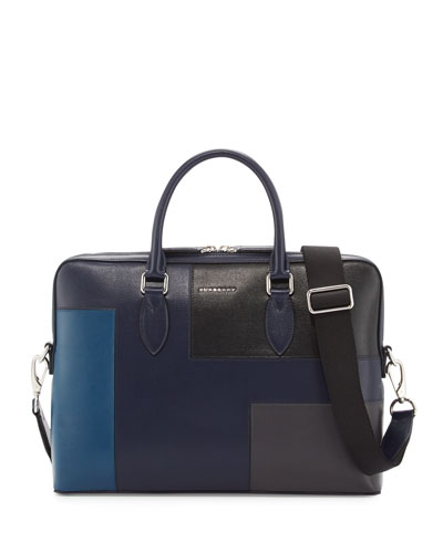 Barrow Slim Patchwork Leather Briefcase, Dark Navy