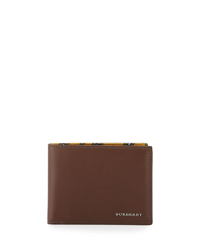 Smooth Leather Wallet w/Printed Lining, Brown