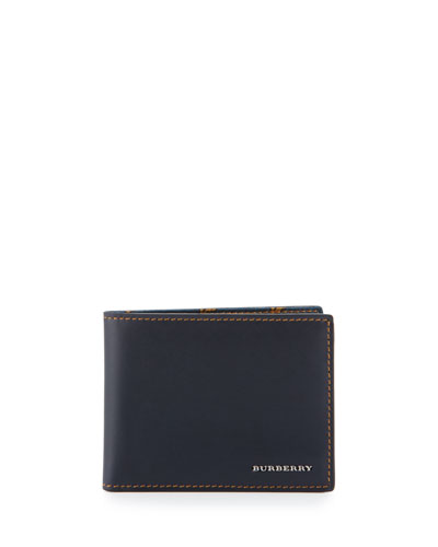 Smooth Leather Wallet w/Printed Lining, Dark Navy