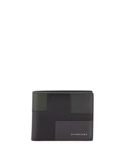 Geometric Patchwork London Leather Wallet, Black