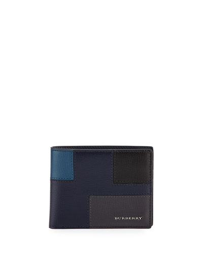 Geometric Patchwork London Leather Wallet, Dark Navy