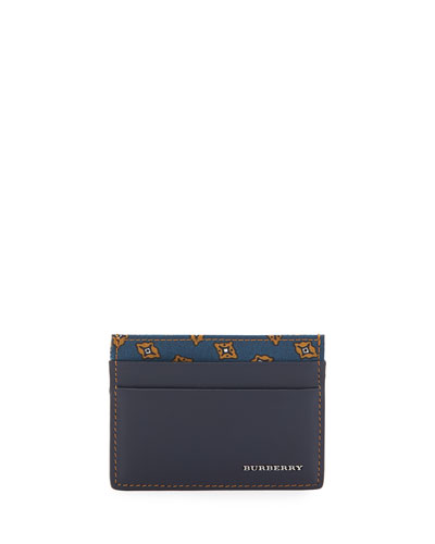 Smooth Leather Card Case w/Printed Panel, Dark Navy