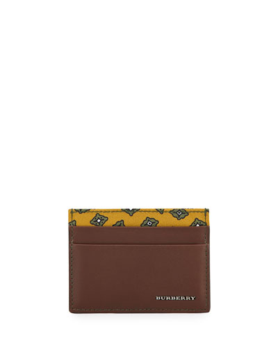 Smooth Leather Card Case w/Printed Panel, Brown