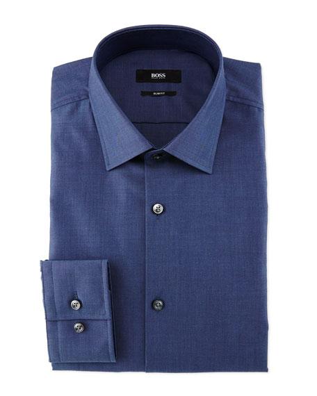 Jenno End-On-End Slim-Fit Dress Shirt, Navy