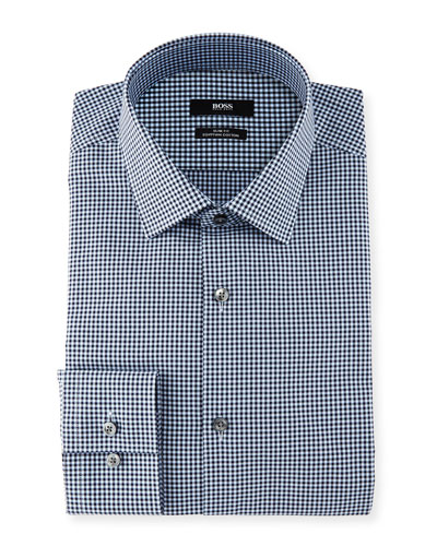 Mini-Gingham Slim-Fit Dress Shirt, Navy