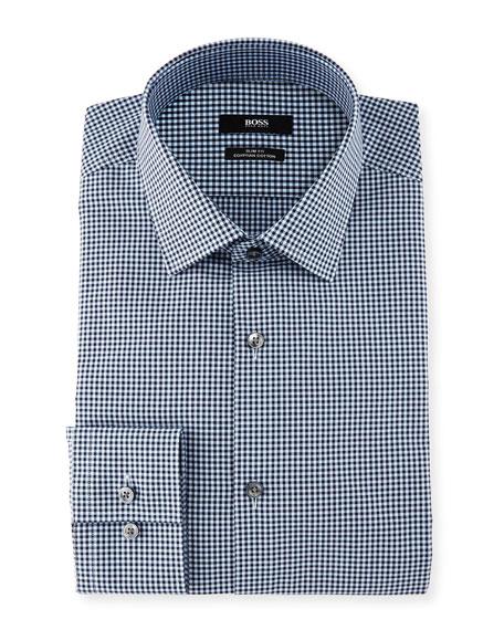 Boss Mini Gingham Slim Fit Dress Shirt Navy Neiman Marcus