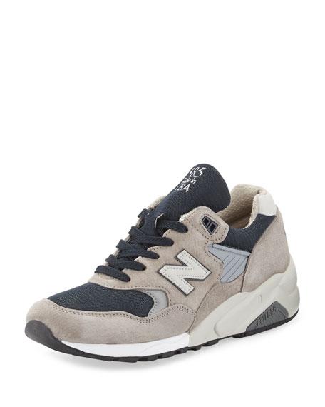 New Balance Men's 585 Bringback Suede-Mesh Sneaker, Gray/Navy