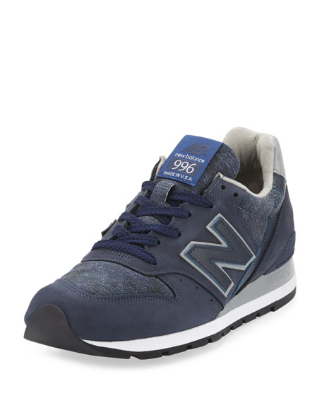 Men's 996 Distinct Age of Exploration Suede-Leather Sneaker, Navy/Silver