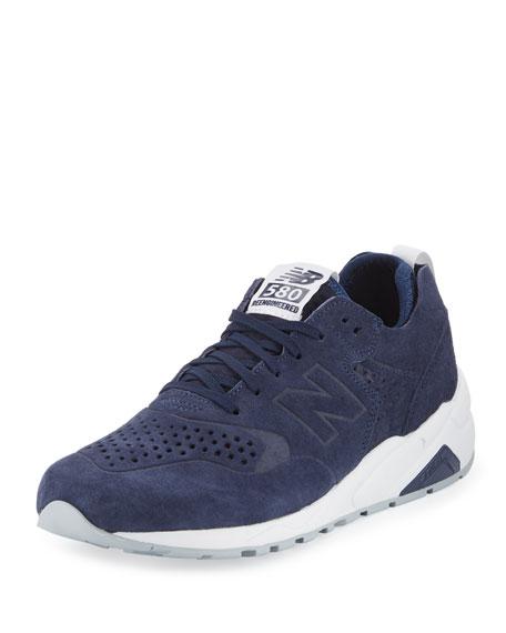 New Balance Men's 580 Deconstructed Suede Sneaker, Blue/Silver