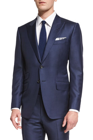 TOM FORD O'Connor Base Sharkskin Two-Piece Suit, Bright Navy