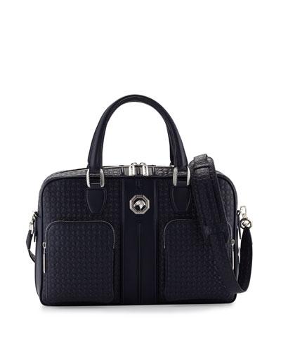 Stamped Leather Messenger Bag, Navy