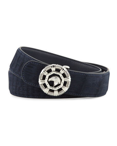 Stefano Ricci Eagle-Head Crocodile Belt, Blue