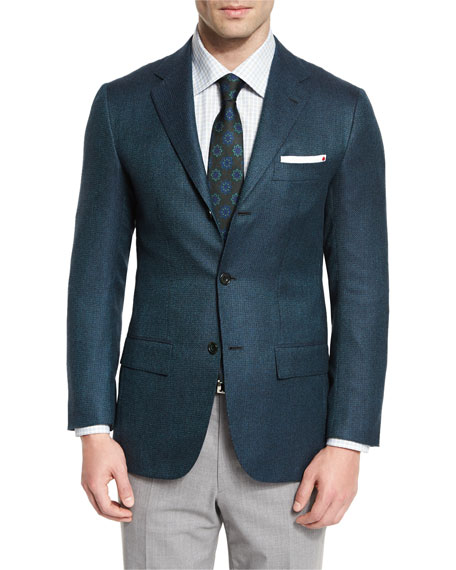 Textured Cashmere Sport Coat, Green/Navy