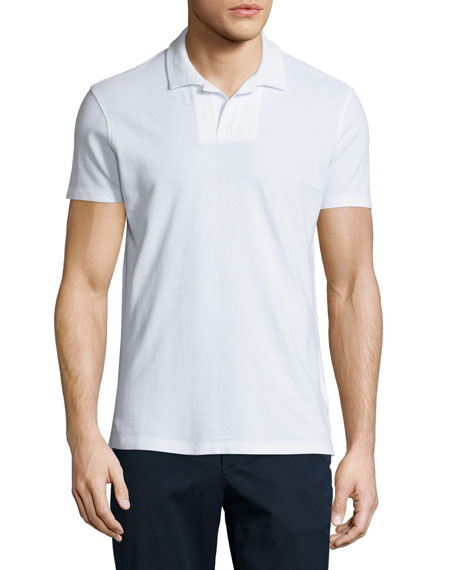 Orlebar Brown Felix Johnny-Collar Waffle Polo Shirt, White