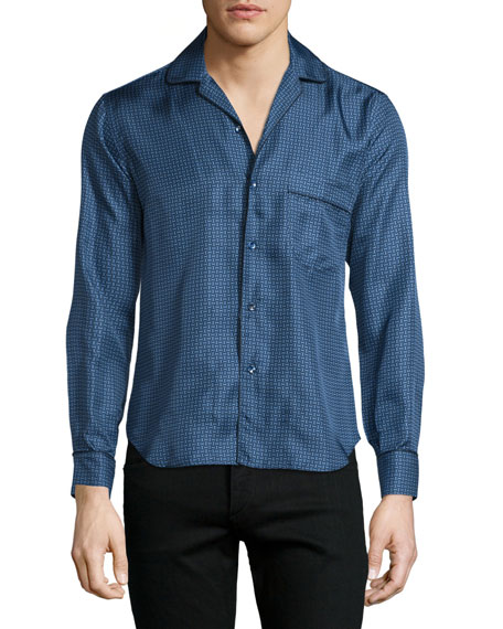 Brioni Button-Front Mini-Print Leisure Shirt, Blue