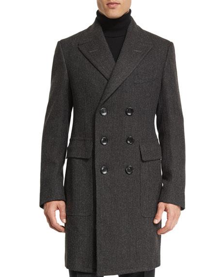 Classic Herringbone Double-Breasted Tailored Coat