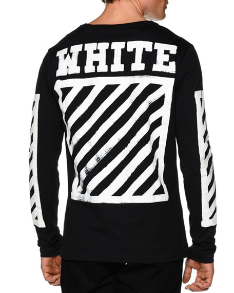 off white brushed lines long sleeve graphic t shirt black. Black Bedroom Furniture Sets. Home Design Ideas