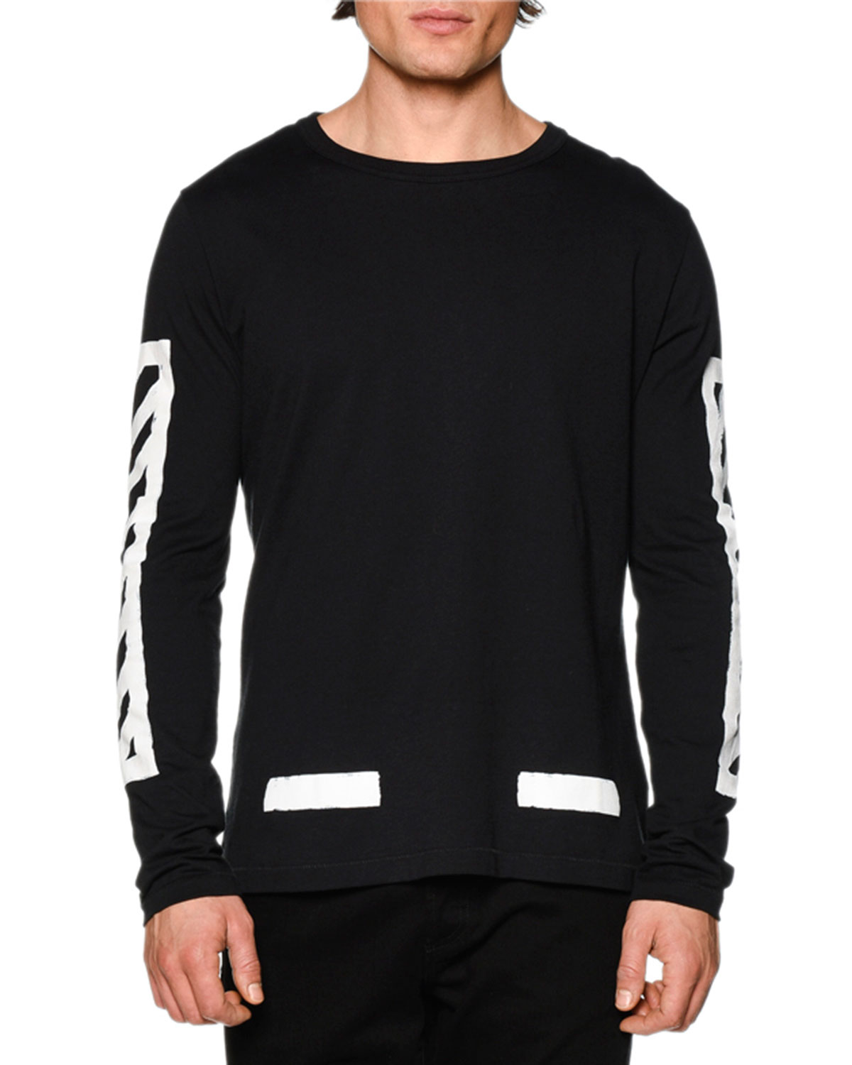 e60f6fc84937 Off-White Brushed Lines Long-Sleeve Graphic T-Shirt, Black/White ...