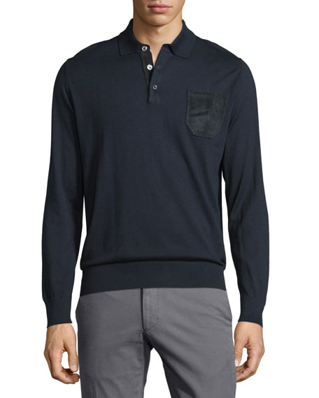 Brioni Long-Sleeve Button-Front Pullover, Blue Solid