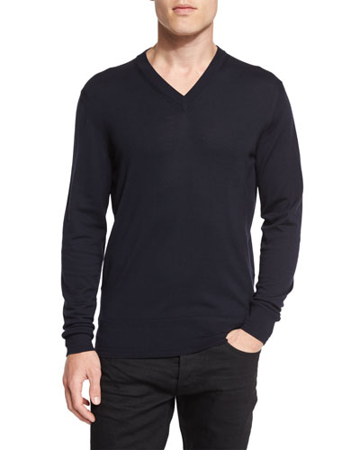 Lightweight Merino V-Neck Sweater, Navy