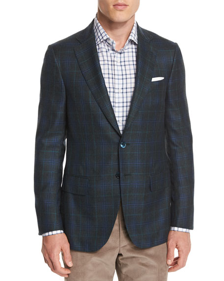 Isaia Plaid Cashmere-Blend Two-Button Sport Coat, Aqua