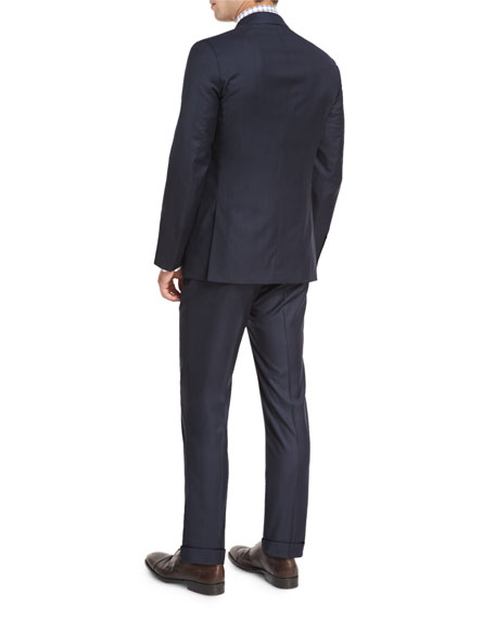 Striped Wool Two-Piece Suit, Navy/Brown