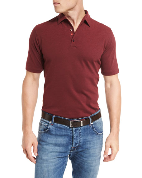 Isaia Washed Piqué Polo Shirt, Red