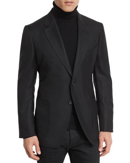 TOM FORD Hopsack Textured Cardigan Jacket, Black