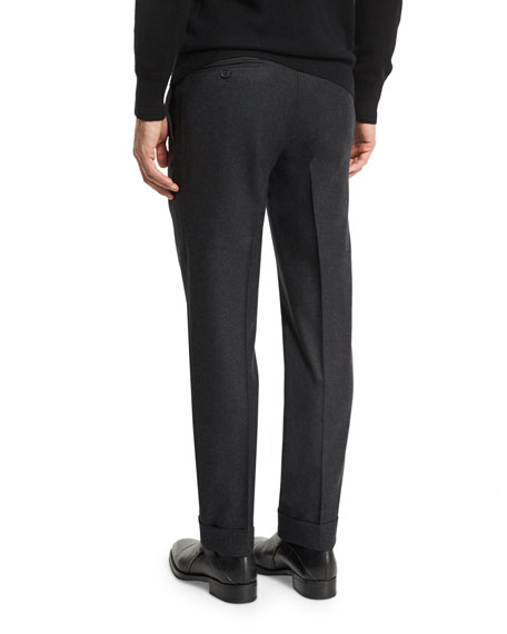 O'Connor Base Flannel Classic Trousers, Charcoal