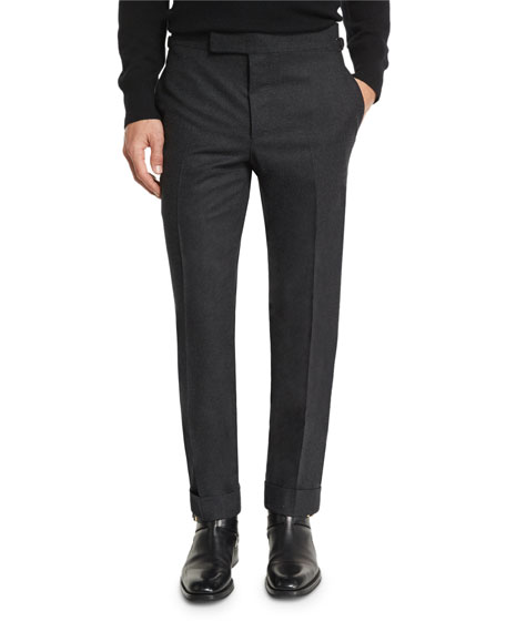 TOM FORD O'Connor Base Flannel Classic Trousers, Charcoal