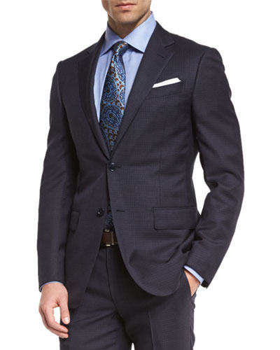 Wool Tonal-Check Two-Piece Suit, Navy