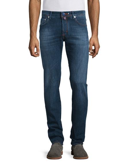 Jacob Cohen Intense Wash Orange-Stitch Straight-Leg Jeans, Dark