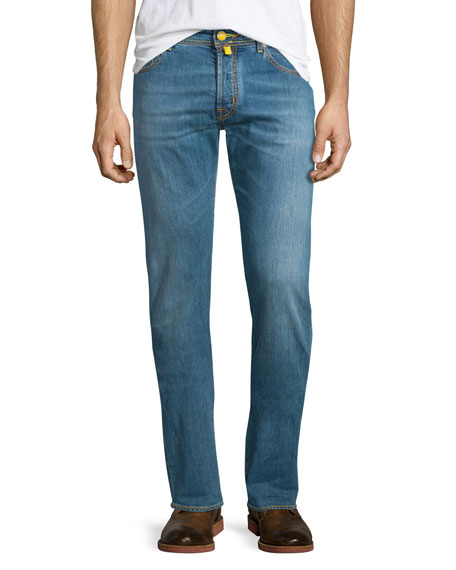 Jacob Cohen Yellow-Stitch Soft Washed Denim Jeans, Light