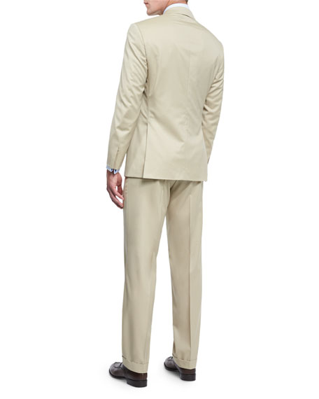 Colosseo Solid Two-Piece Wool Suit, Tan