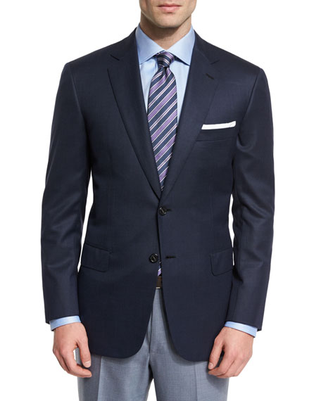 Brioni Colosseo Textured Two-Button Wool Blazer, Navy