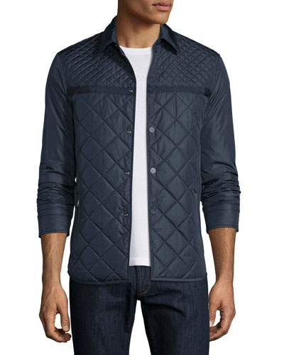 Quilted Silk Shirt Jacket, Navy