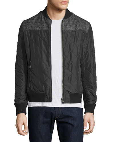 Reversible Leather Bomber Jacket W/Plaid Sleeves, Black