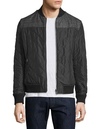 Reversible Leather Bomber Jacket W/Plaid Sleeves, Black