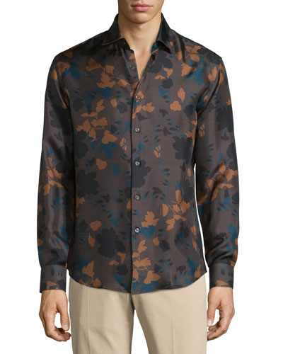 Floral-Print Silk Sport Shirt, Brown